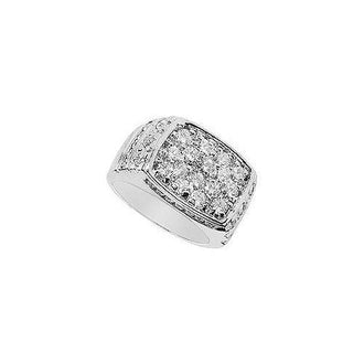 Mens Diamond Ring : 14K White Gold - 2.65 CT Diamonds