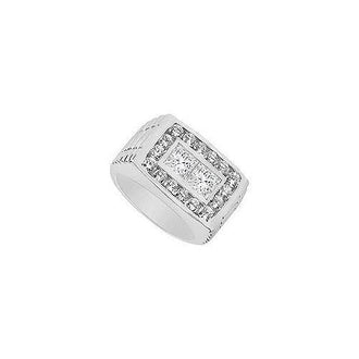 Mens Diamond Ring : 14K White Gold - 1.50 CT Diamonds