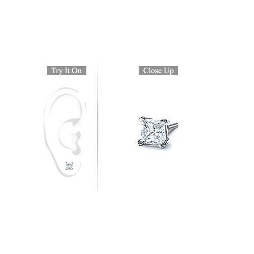 Mens Platinum : Princess Cut Diamond Stud Earring - 0.50 CT. TW.