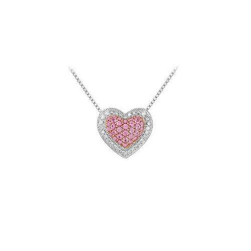 Pink Sapphire and Diamond Heart Pendant : 14K White Gold - 0.75 CT TGW