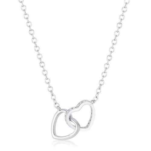 .22 Ct Interlocking Hearts Necklace with CZ