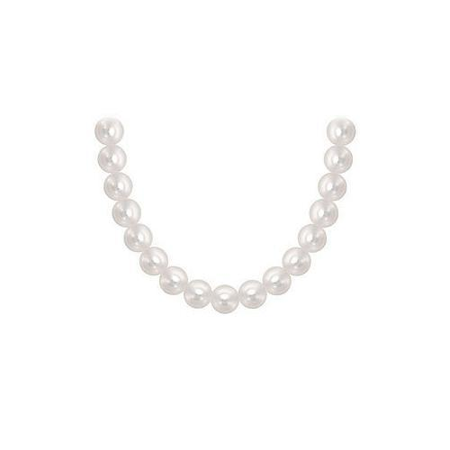 Akoya Cultured Pearl Necklace : 14K Yellow Gold  7 MM