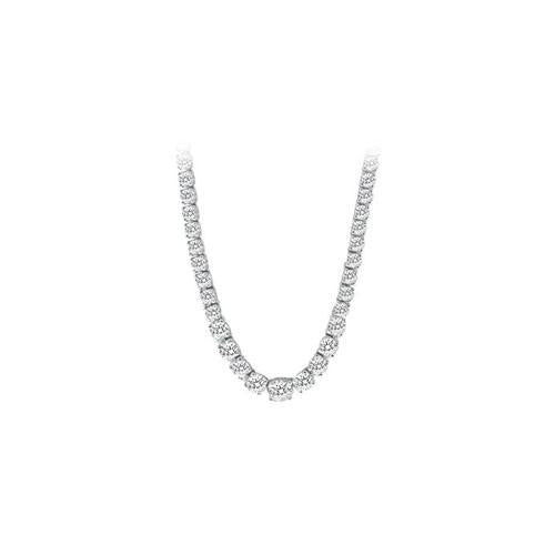 14K White Gold Diamond Eternity Necklace 17.00 CT TDW