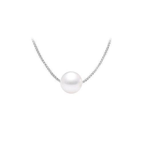 Cultured White Akoya Pearl Pendant : 14K white gold - 9 MM