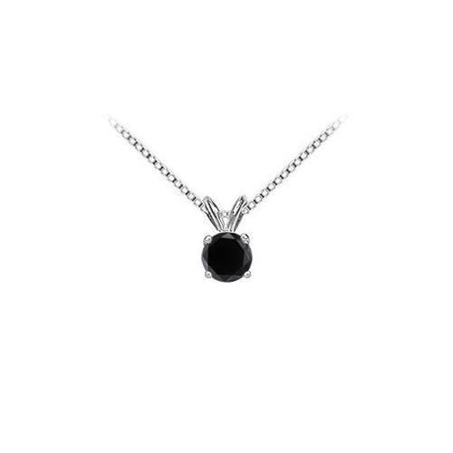 14K White Gold : Round Black Diamond Solitaire Pendant - 1.75 CT. TW.