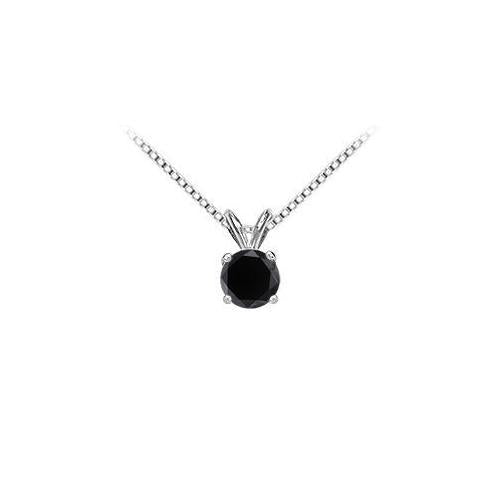 14K White Gold Round Prong Set Onyx Solitaire Pendant 4.00 CT TGW.