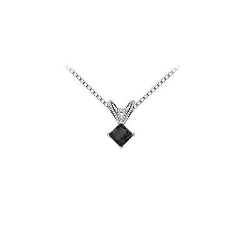 14K White Gold : Princess Cut Diamond Solitaire Pendant - 0.75 CT. TW.