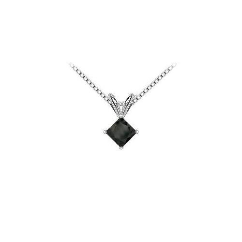 14K White Gold : Princess Cut Diamond Solitaire Pendant - 1.75 CT. TW.