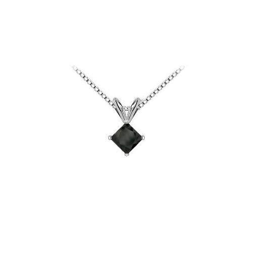 14K White Gold Prong Set Square Onyx Solitaire Pendant 3.00 CT TGW.