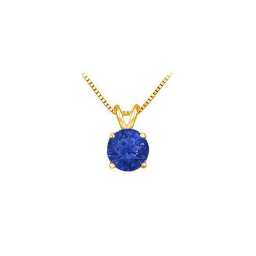 14K Yellow Gold Prong Set Natural Sapphire Solitaire Pendant 0.75 CT TGW