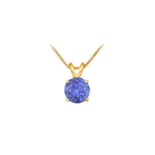 14K Yellow Gold Prong Set Natural Tanzanite Solitaire Pendant 0.75 CT TGW