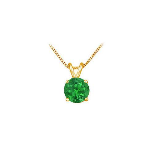14K Yellow Gold Prong Set Natural Emerald Solitaire Pendant 1.00 CT TGW
