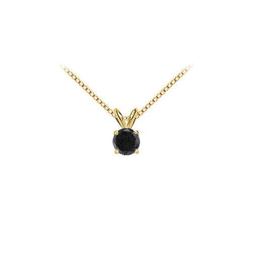 14K Yellow Gold : Round Black Diamond Solitaire Pendant - 1.50 CT. TW.