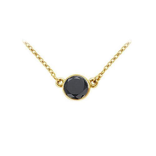 14K Yellow Gold : Bezel Set Round Black Diamond Solitaire Pendant - 2.00 CT. TW.