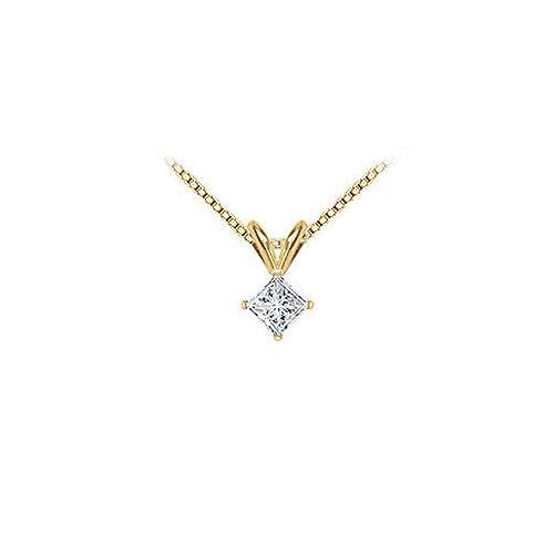 14K Yellow Gold : Princess Cut Diamond Solitaire Pendant - 0.33 CT. TW.