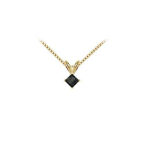 14K Yellow Gold : Princess Cut Black Diamond Solitaire Pendant - 0.50 CT. TW.