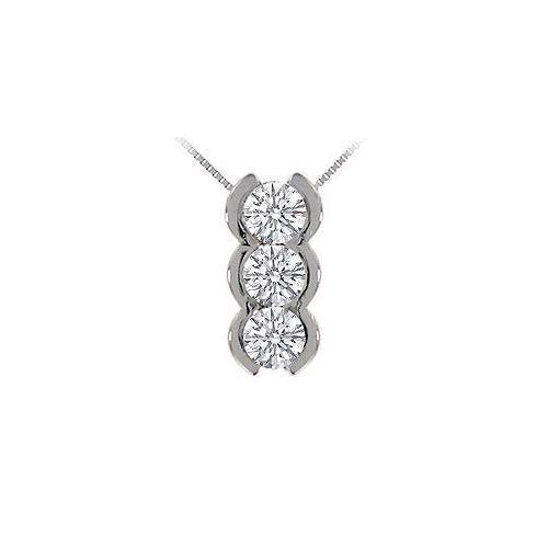 Three Stone Diamond Pendant : 14K White Gold - 1.00 CT Diamonds