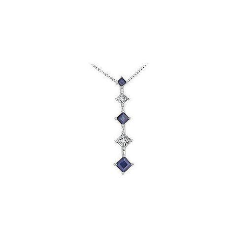 Sapphire and Diamond Journey Pendant : 14K White Gold - 1.00 CT TGW