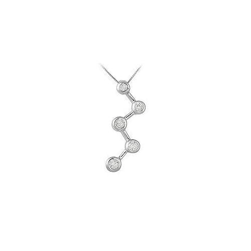 Diamond Zig-Zag Journey Pendant : 14K White Gold - 0.50 CT Diamonds