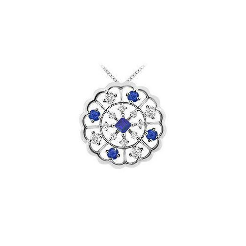 Sapphire and Diamond Flower Pendant : 14K White Gold - 1.00 CT TGW