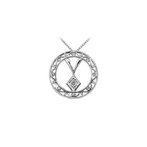 Diamond Circle Pendant : 14K White Gold - 0.15 CT Diamonds
