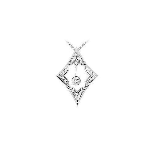 Diamond Frame Design Pendant : 14K White Gold - 0.50 CT Diamonds