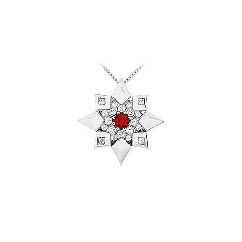 Ruby and Diamond Star Pendant : 14K White Gold - 0.66 CT TGW