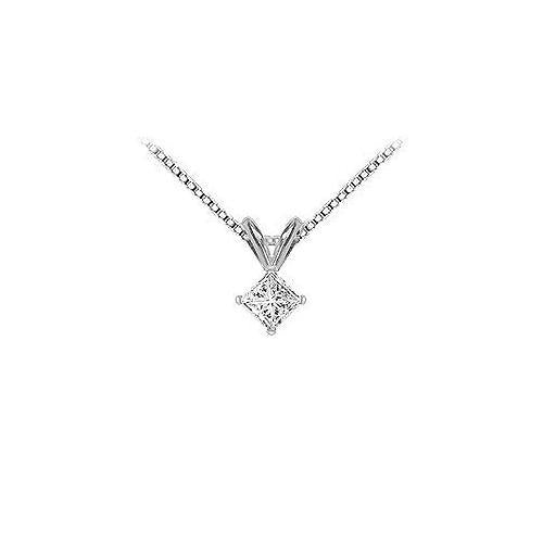 18K White Gold : Princess Cut Diamond Solitaire Pendant – 0.33 CT. TDW.