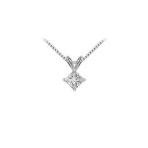 18K White Gold : Princess Cut Diamond Solitaire Pendant – 1.00 CT. TDW.