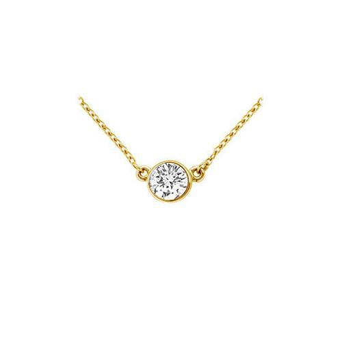 18K Yellow Gold : Bezel Set Round Diamond Solitaire Pendant - 0.50 CT. TDW.