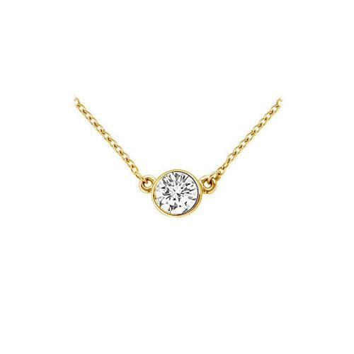18K Yellow Gold : Bezel Set Round Diamond Solitaire Pendant - 1.00 CT. TDW.