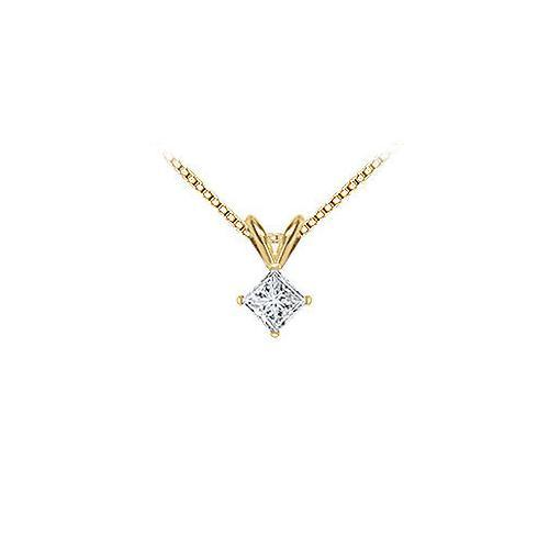 18K Yellow Gold : Princess Cut Diamond Solitaire Pendant – 0.50 CT. TDW.