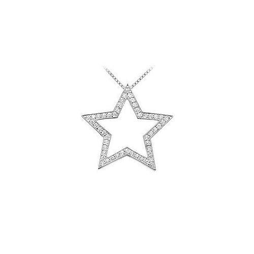 Diamond Star Pendant : 14K White Gold - 0.33 CT Diamonds