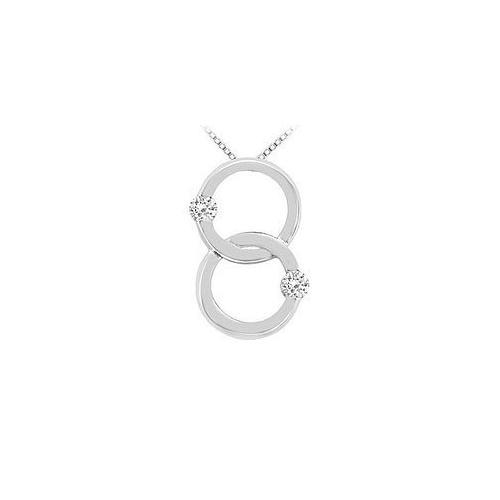 Diamond Circle Pendant : 14K White Gold - 0.30 CT Diamonds