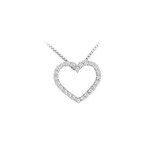 Diamond Heart Pendant : 14K White Gold - 0.25 CT Diamonds