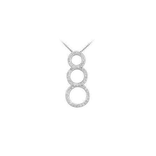 Diamond Circle Pendant : 14K White Gold - 0.50 CT Diamonds