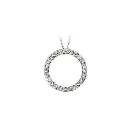 Diamond Circle Pendant : 14K White Gold - 1.00 CT Diamonds