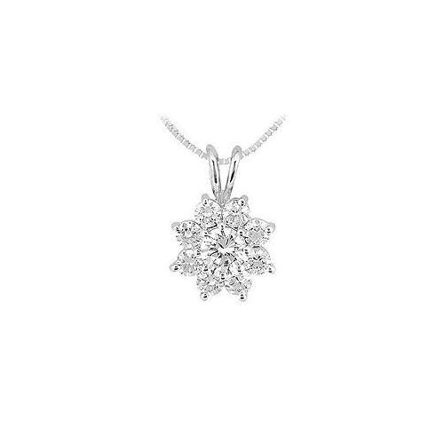 Diamond Flower Pendant : 14K White Gold - 0.75 CT Diamonds
