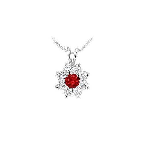 Ruby and Diamond Flower Pendant : 14K White Gold - 0.75 CT TGW