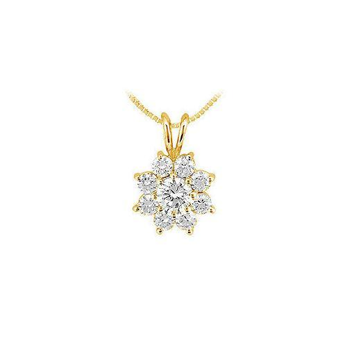 Diamond Flower Pendant : 14K Yellow Gold - 0.75 CT Diamonds