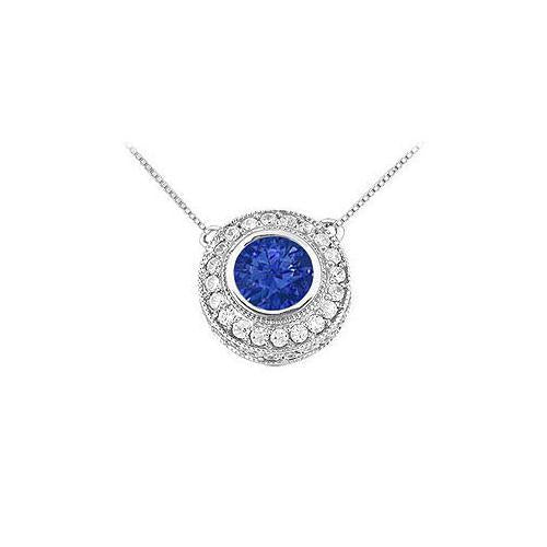 Sapphire and Diamond Pendant : 14K White Gold - 0.66 CT TGW