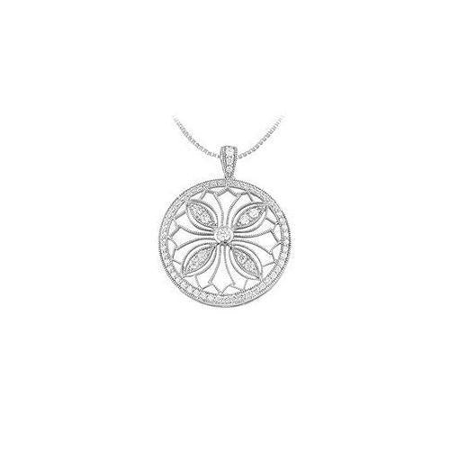 Diamond Circle Pendant : 14K White Gold - 0.75 CT Diamonds
