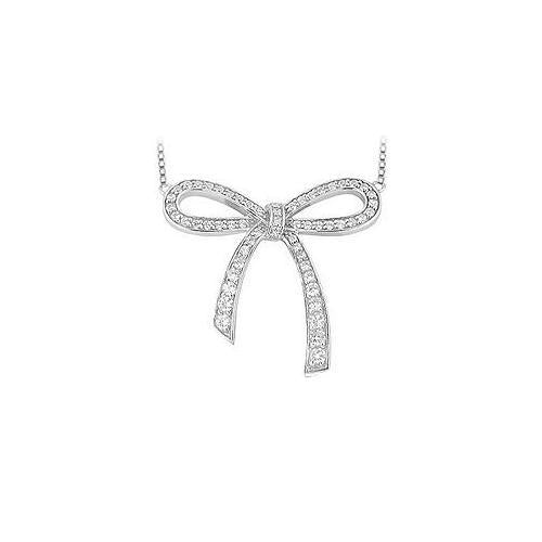 Diamond Bow Pendant : 14K White Gold - 0.33 CT Diamonds