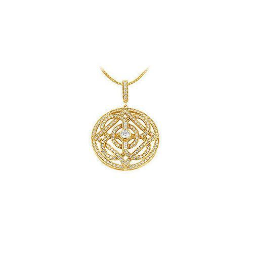 Diamond Circle Pendant : 14K Yellow Gold - 1.00 CT Diamonds