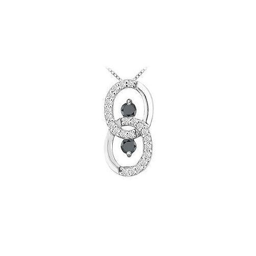 Black and White Diamond Circle Pendant : 14K White Gold - 1.00 CT Diamonds