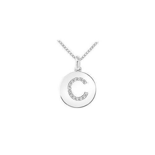 Diamond Disc Initial C Pendant : 14K White Gold - 0.15 CT Diamonds