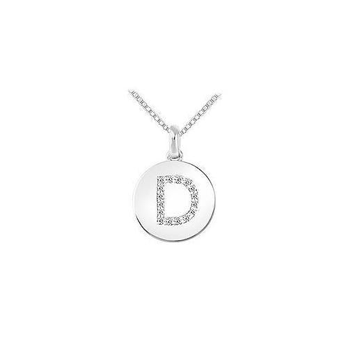 Diamond Disc Initial D Pendant : 14K White Gold - 0.15 CT Diamonds