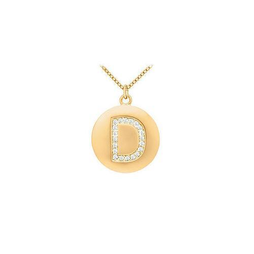 Diamond Initial D Disc Pendant : 14K Yellow Gold - 0.33 CT Diamonds