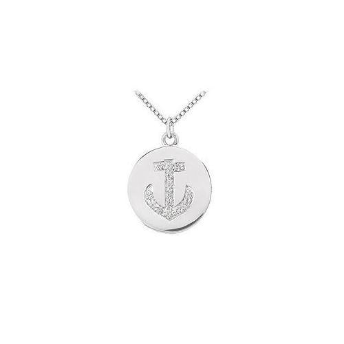Diamond Disc Pendant : 14K White Gold - 0.15 CT Diamonds