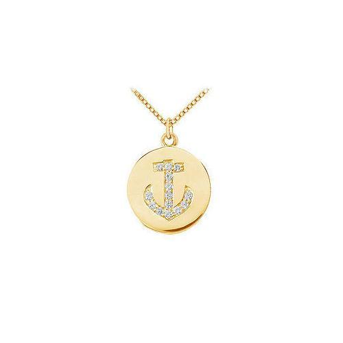 Diamond Disc Pendant : 14K Yellow Gold - 0.15 CT Diamonds